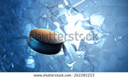 3d rendered illustration of an hockey puck burst through ice. - stock photo