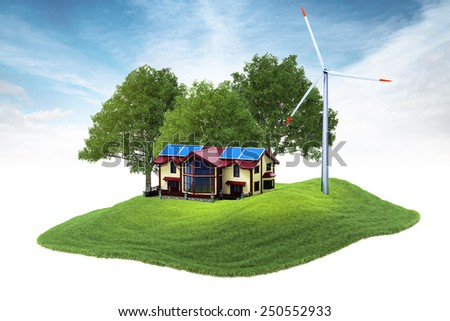 3d rendered illustration of an island house and wind generator floating in the air on sky background - stock photo