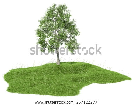3d rendered illustration of an island with tree floating  - stock photo