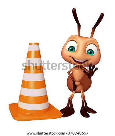 3d rendered illustration of Ant cartoon character with construction cone - stock photo
