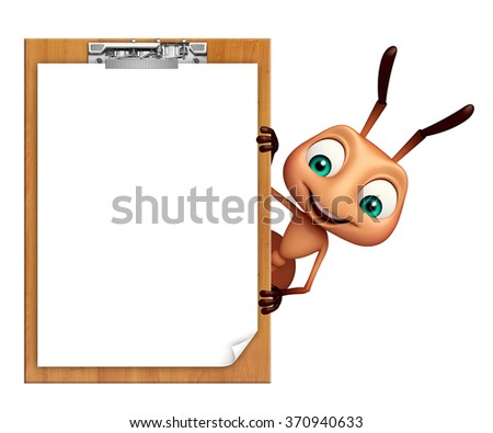 3d rendered illustration of Ant cartoon character with exam pad - stock photo
