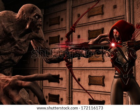 3D rendered illustration of attacking dark elf on zombie - stock photo