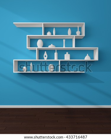 3d rendered illustration of bookshelves with simple decorative ceramics. - stock photo