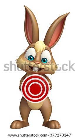 3d rendered illustration of Bunny cartoon character with target sign - stock photo