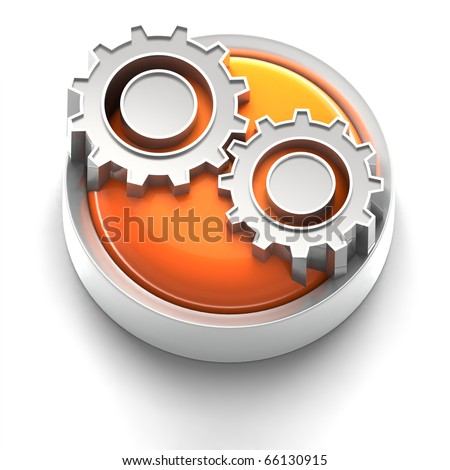 3D rendered illustration of button icon with Gears Icon - stock photo