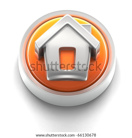3D rendered illustration of button icon with home symbol - stock photo