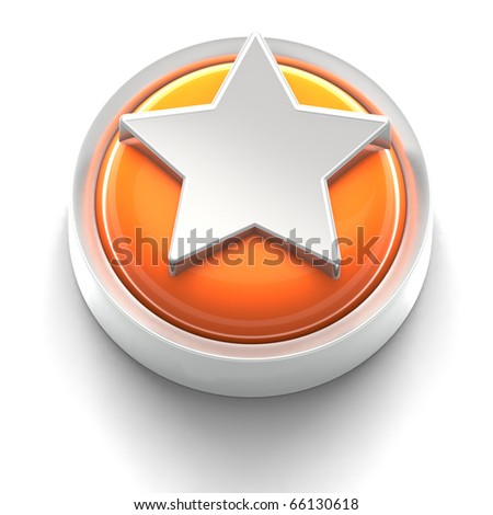 3D rendered illustration of button icon with Star symbol - stock photo