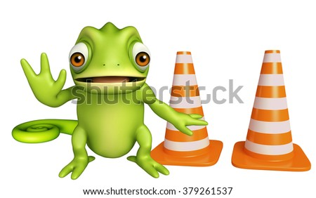 3d rendered illustration of Chameleon cartoon character with construction cone - stock photo