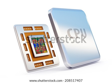 3d rendered illustration of computer cpu (central processor unit) chip isolated on white - stock photo