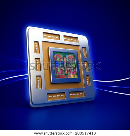 3d rendered illustration of computer cpu (central processor unit) chip on blue background - stock photo