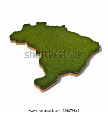 3d rendered illustration of cross section map of Brazil isolated on white - stock photo