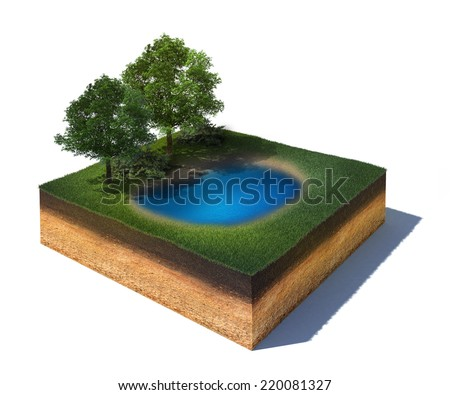 3d rendered illustration of cross section of ground with a lake and some trees isolated on white - stock photo