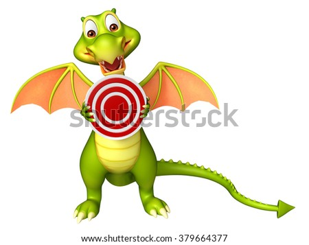3d rendered illustration of Dragon cartoon character with target sign  - stock photo