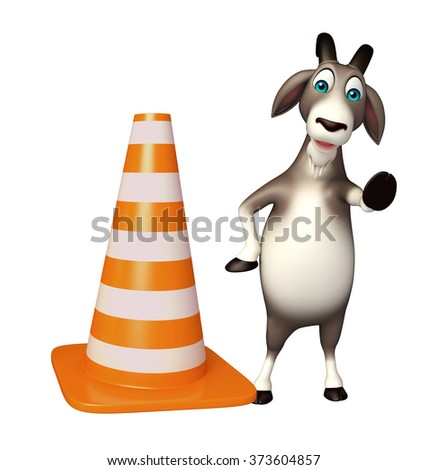 3d rendered illustration of Goat cartoon character with construction cone  - stock photo