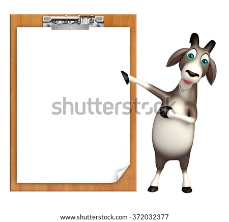 3d rendered illustration of Goat cartoon character with exam pad  - stock photo