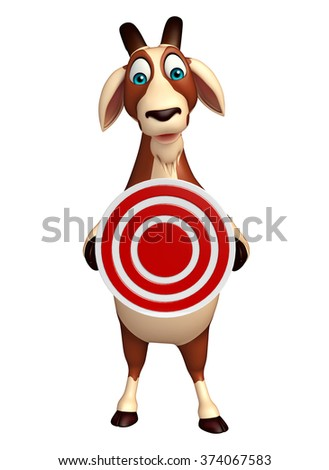 3d rendered illustration of Goat cartoon character with target sign - stock photo