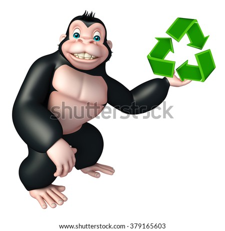 3d rendered illustration of Gorilla cartoon character with recycle sign - stock photo