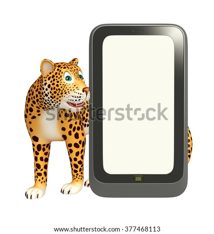 3d rendered illustration of Leopard cartoon character with mobile - stock photo