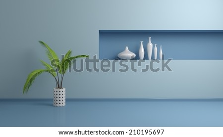 3d rendered illustration of modern interior with palm and white vases. - stock photo