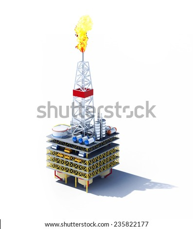 3d rendered illustration of oil platform isolated on white - stock photo