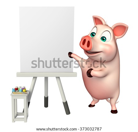 3d rendered illustration of Pig cartoon character with easel board   - stock photo