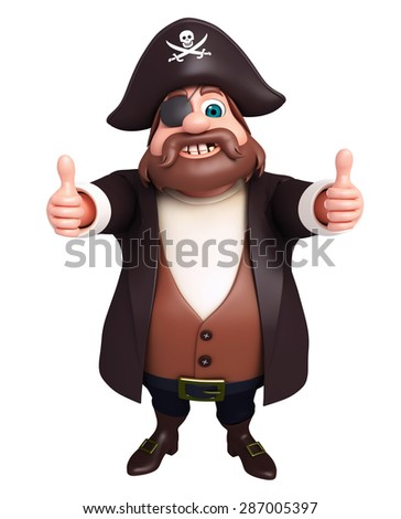 3d rendered illustration of pirate  - stock photo