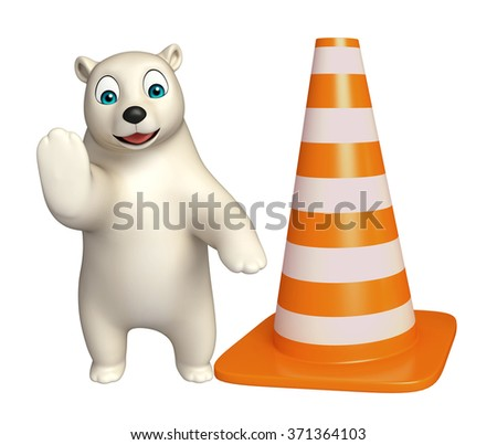 3d rendered illustration of Polar bear cartoon character with  construction cone 