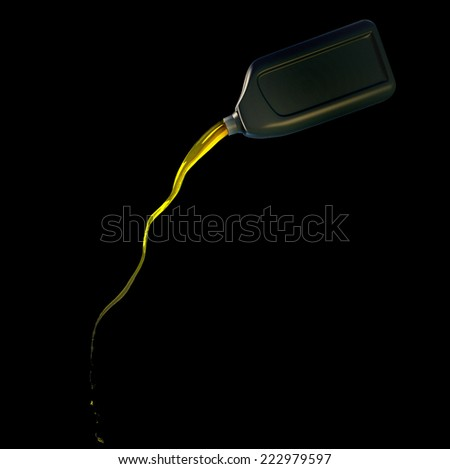 3d rendered illustration of pouring oil from a canister on black background - stock photo