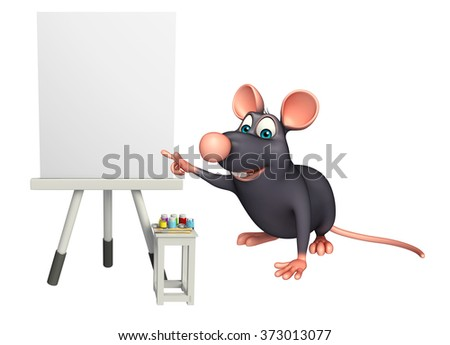 3d rendered illustration of Rat cartoon character with easel board  - stock photo