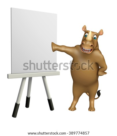 3d rendered illustration of Rhino cartoon character with easel board - stock photo