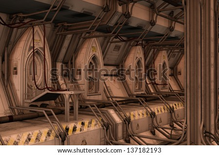 3D rendered illustration of sci-fi space dock station on sunset - stock photo