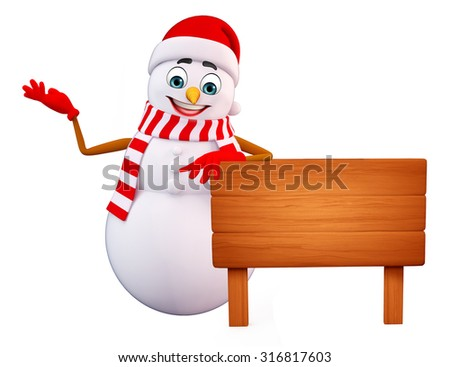 3d rendered illustration of snowman with wooden sign - stock photo