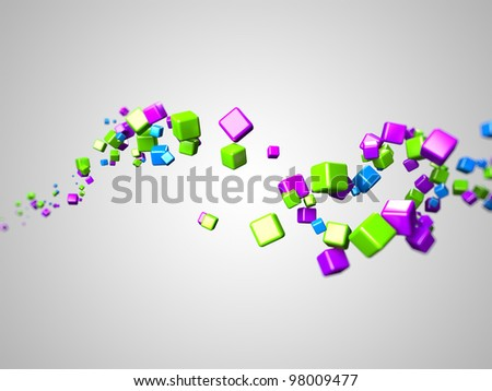 3d rendered illustration of some floating colorful cubes - stock photo