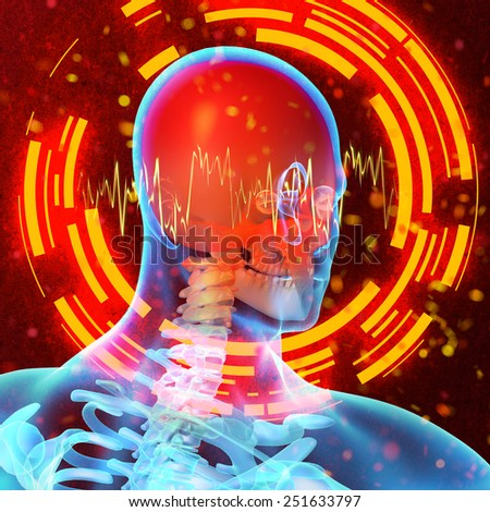 3d rendered illustration of the  painful neck - stock photo