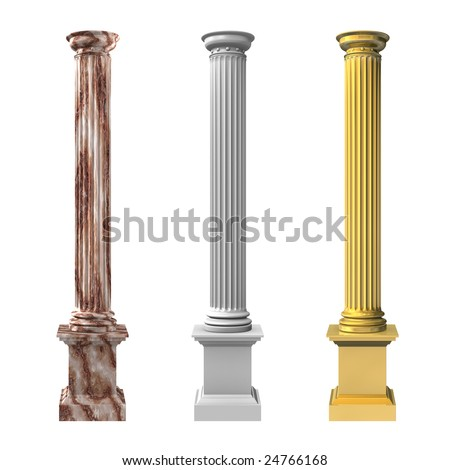 3d rendered illustration of three columns - stock photo