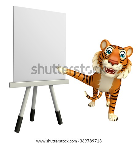 3d rendered illustration of Tiger cartoon character with easel board  - stock photo