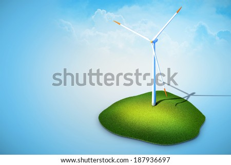 3d rendered illustration of wind turbines generating electricity on blue background - stock photo