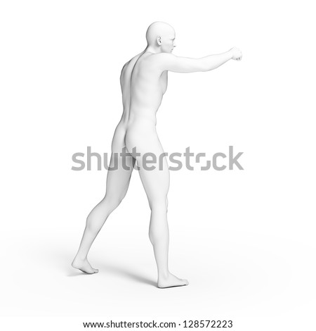 3d rendered illustration - white fighter - stock photo