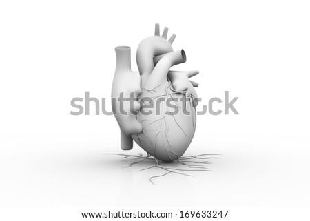 3d rendered illustration - white heart - stock photo