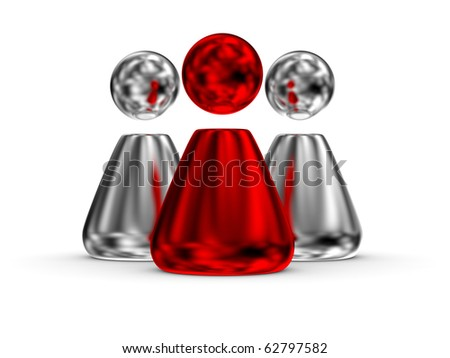 3D rendered image leader concept with red one - stock photo