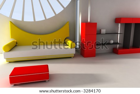 3d rendered interior - stock photo