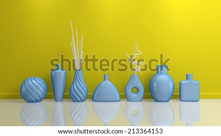 3d rendered interior composition with decorative pottery. - stock photo