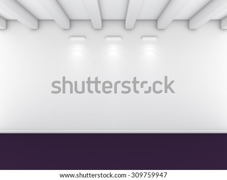 3d rendered interior composition with lighting on wall. - stock photo