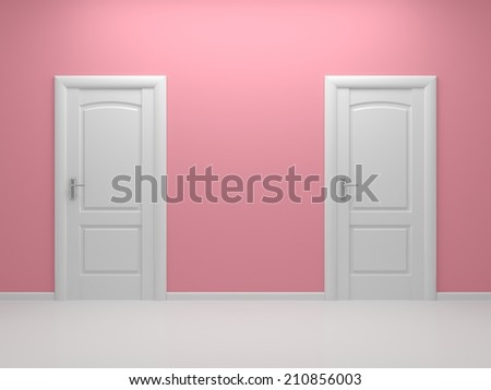 3d rendered interior composition with two white doors. - stock photo