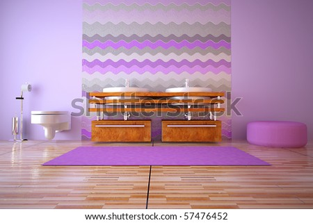 3d rendered interior of bath room - stock photo