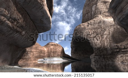 3D rendered island with rocks and lake during day - stock photo