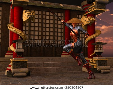 3D rendered Kung Fu woman warrior in action pose with bo staff in temple - stock photo