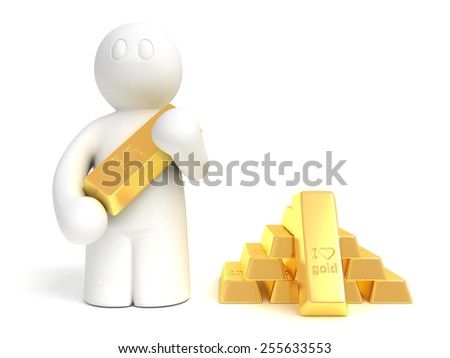 3d rendered man with gold bullion on white backround, isolated - stock photo