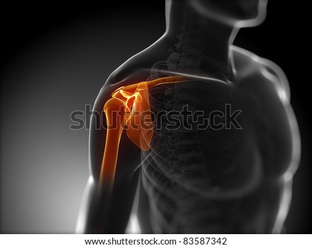 3d rendered medical illustration - painful shoulder - stock photo