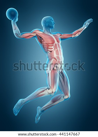 3d rendered, medically accurate 3d illustration of a football player - stock photo